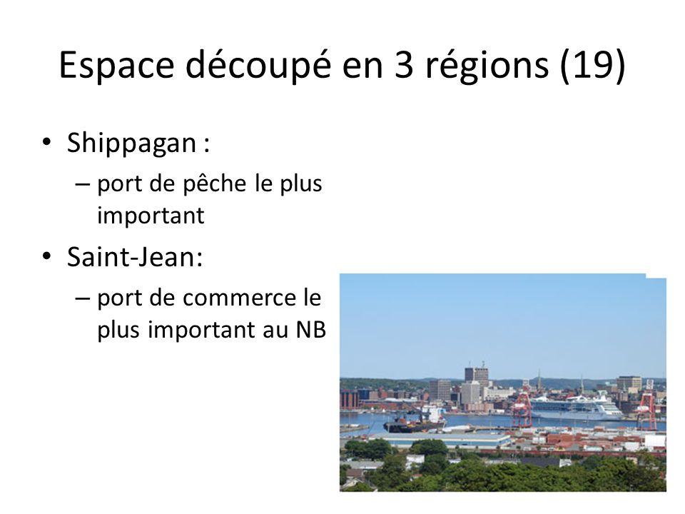 Espace découpé en 3 régions (19) Shippagan : – port de pêche le plus important Saint-Jean: – port de commerce le plus important au NB