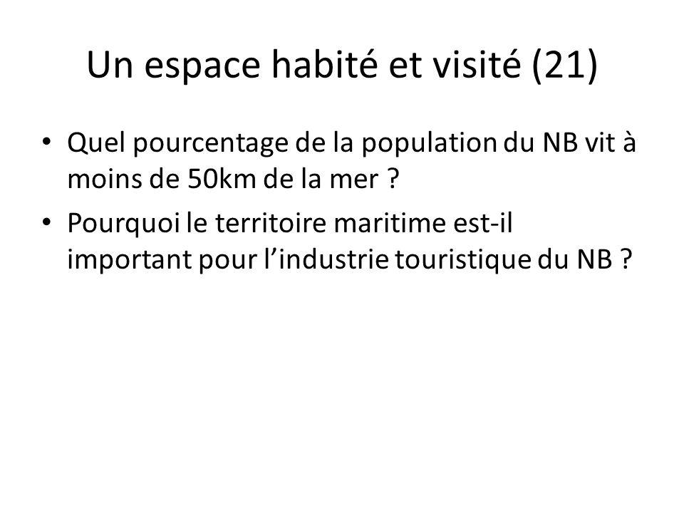 Un espace habité et visité (21) 60% de la population vit à moins de 50 km de la mer activités touristiques – retombées économiques importantes