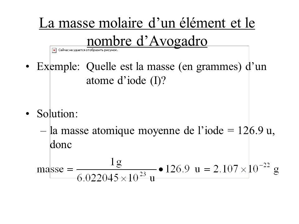 La masse molaire dun élément et le nombre dAvogadro Exemple:Quelle est la masse (en grammes) dun atome diode (I)? Solution: –la masse atomique moyenne
