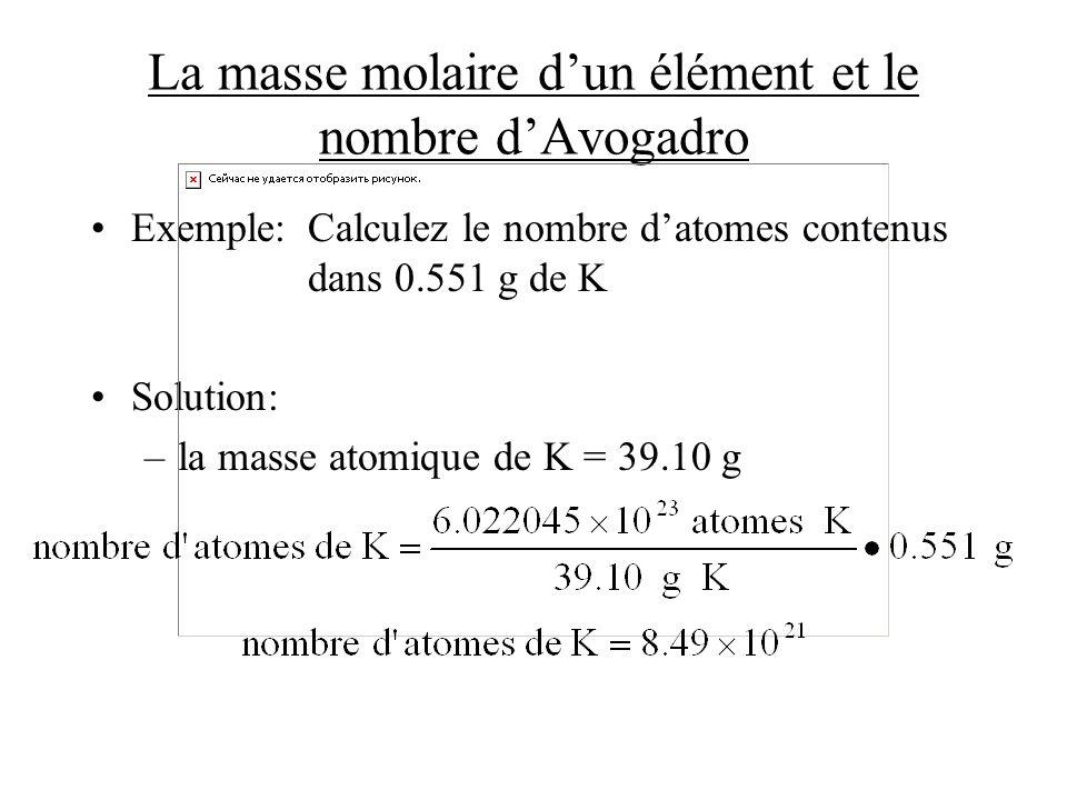 La masse molaire dun élément et le nombre dAvogadro Exemple:Calculez le nombre datomes contenus dans 0.551 g de K Solution: –la masse atomique de K =
