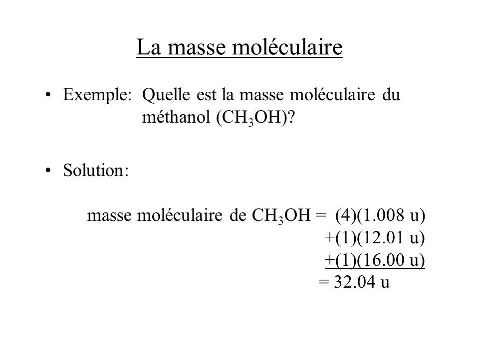 La masse moléculaire Exemple:Quelle est la masse moléculaire du méthanol (CH 3 OH)? Solution: masse moléculaire de CH 3 OH = (4)(1.008 u) +(1)(12.01 u