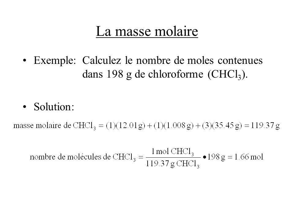 La masse molaire Exemple:Calculez le nombre de moles contenues dans 198 g de chloroforme (CHCl 3 ). Solution: