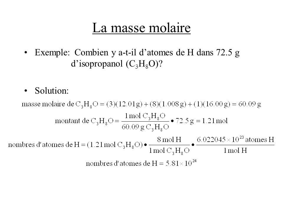 La masse molaire Exemple:Combien y a-t-il datomes de H dans 72.5 g disopropanol (C 3 H 8 O)? Solution: