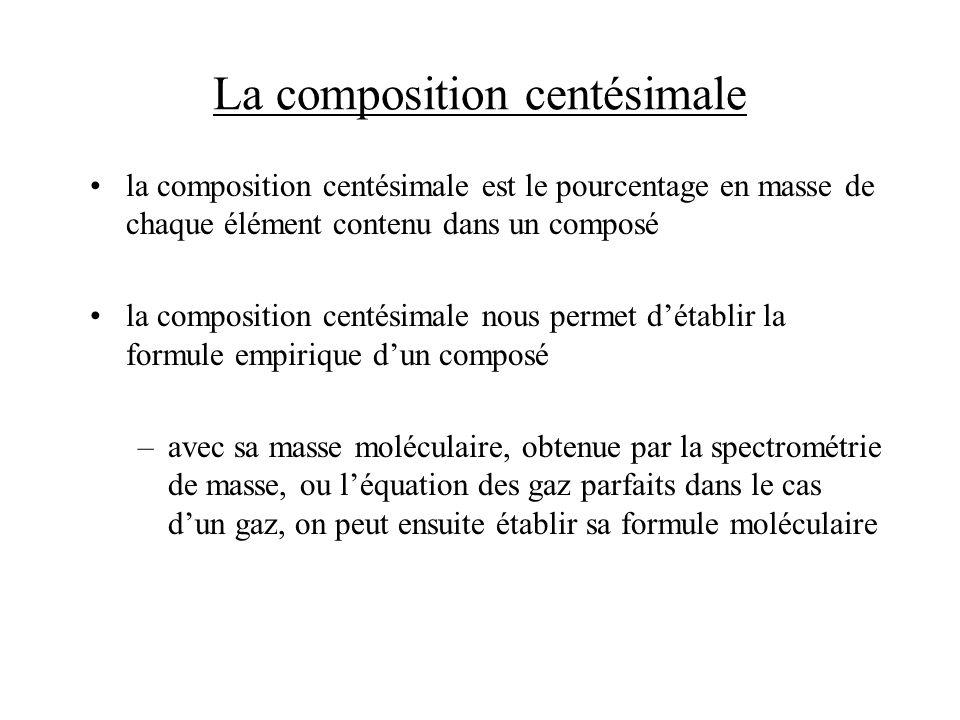 La composition centésimale la composition centésimale est le pourcentage en masse de chaque élément contenu dans un composé la composition centésimale