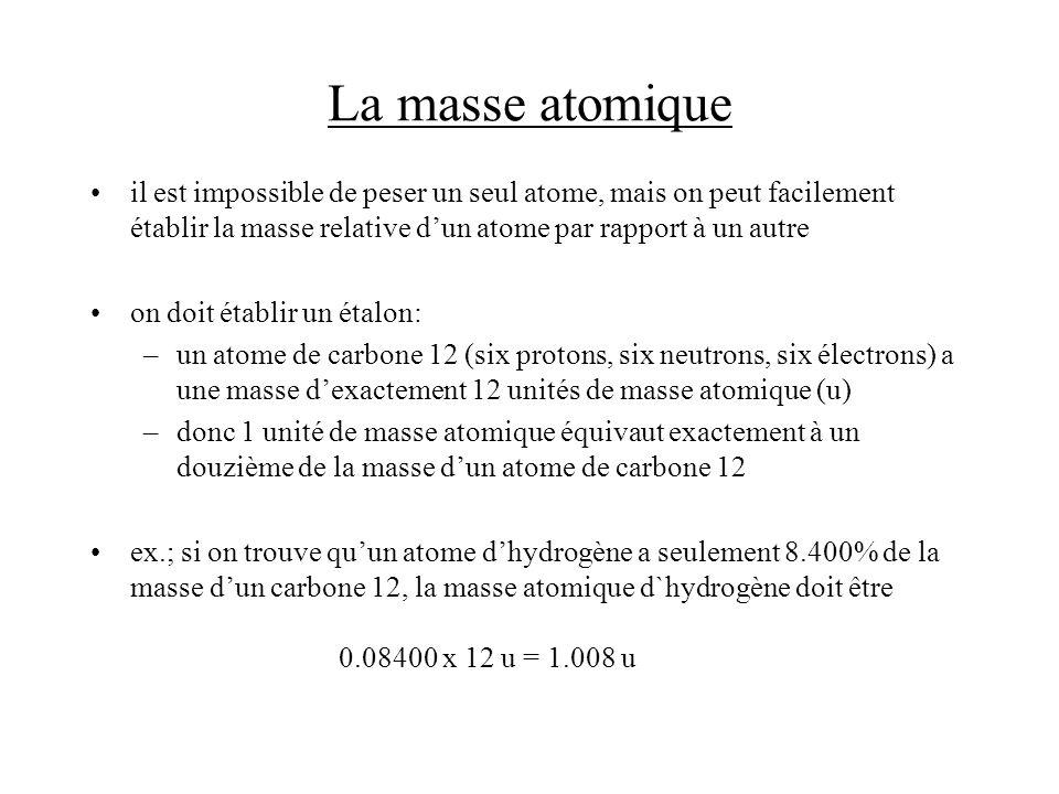 La masse atomique moyenne la plupart des éléments naturels ont plus quun isotope –ex.; il y a deux isotopes pour le carbone, soit le carbone 12 (98.89%) et le carbone 13 (1.11%, masse atomique = 13.00335 u), et la masse moyenne pondérée est (0.9889)(12.00000u) + (0.0111)(13.00335) = 12.01 u le fait que le carbone 12 soit lisotope dominant fait que la masse atomique moyenne est approximativement 12 N.B.