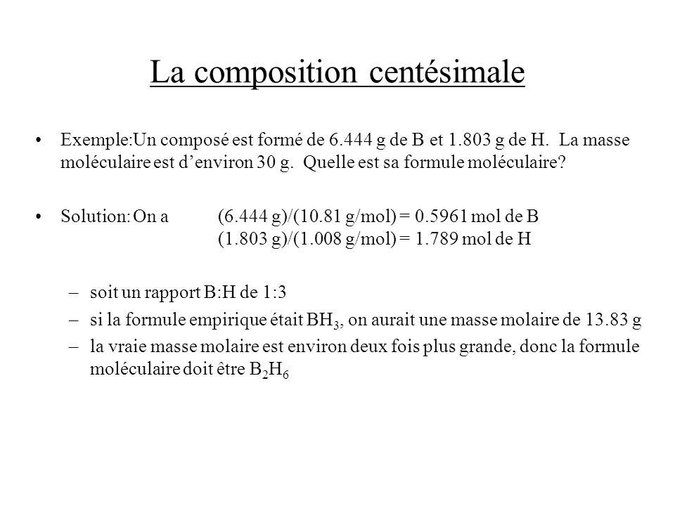 La composition centésimale Exemple:Un composé est formé de 6.444 g de B et 1.803 g de H. La masse moléculaire est denviron 30 g. Quelle est sa formule