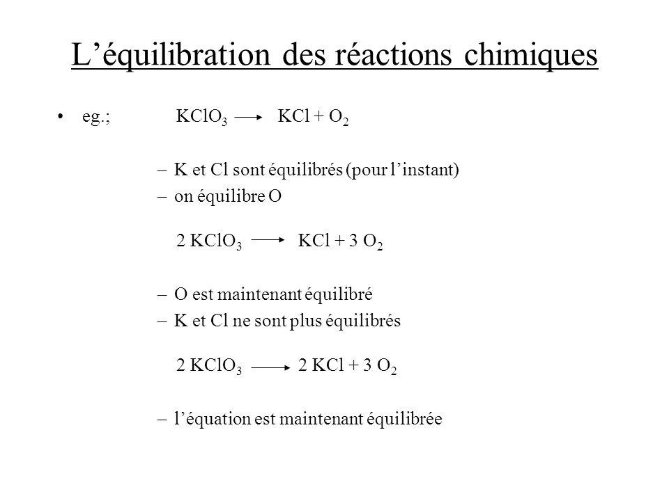 Léquilibration des réactions chimiques eg.; KClO 3 KCl + O 2 –K et Cl sont équilibrés (pour linstant) –on équilibre O 2 KClO 3 KCl + 3 O 2 –O est main
