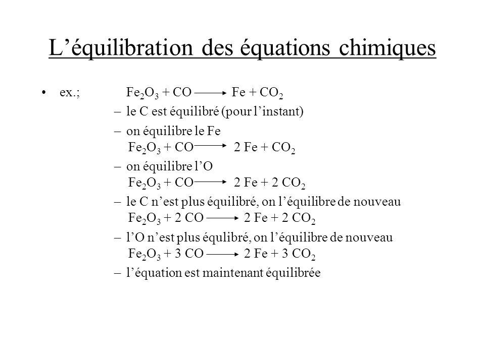 Léquilibration des équations chimiques ex.; Fe 2 O 3 + CO Fe + CO 2 –le C est équilibré (pour linstant) –on équilibre le Fe Fe 2 O 3 + CO 2 Fe + CO 2