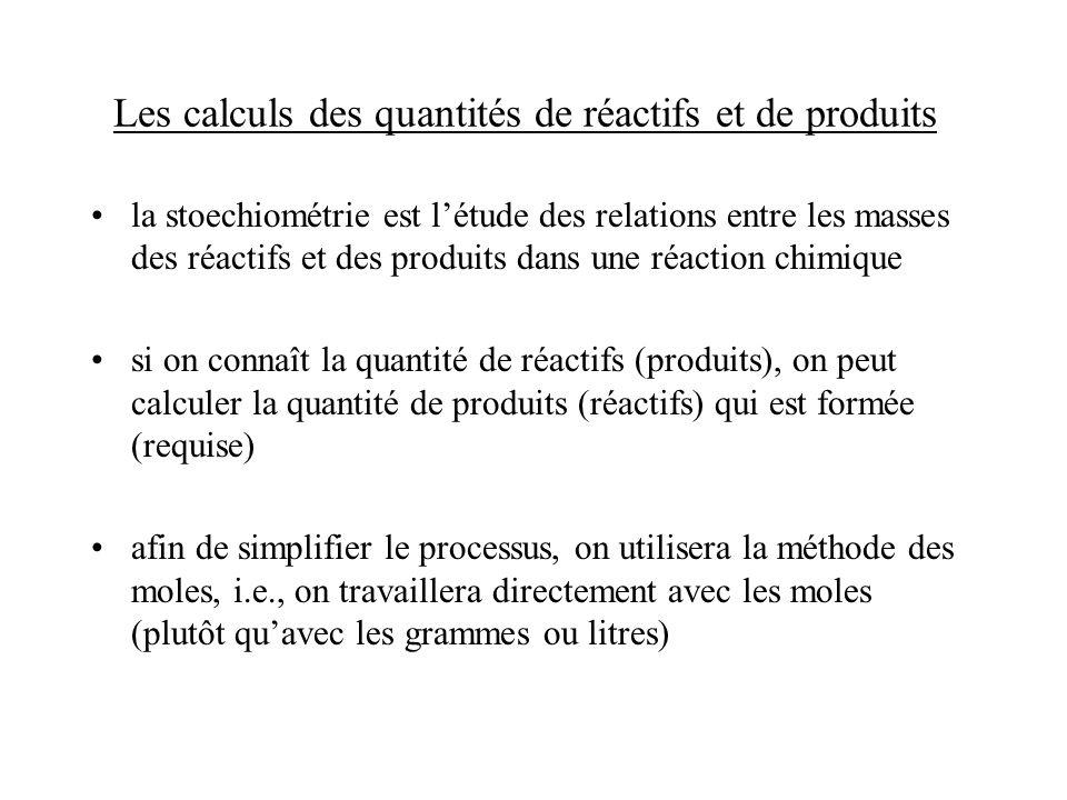 Les calculs des quantités de réactifs et de produits la stoechiométrie est létude des relations entre les masses des réactifs et des produits dans une