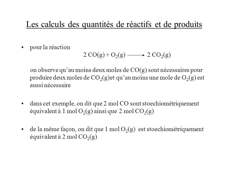 Les calculs des quantités de réactifs et de produits pour la réaction 2 CO(g) + O 2 (g) 2 CO 2 (g) on observe quau moins deux moles de CO(g) sont néce