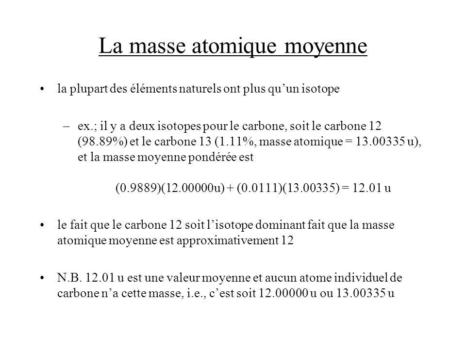 La masse atomique moyenne Exemple: Les masses atomiques des deux isotopes stables du bore, le bore 10 (19.78%) et le bore 11 (80.22%), sont respectivement de 10.0129 u et de 11.0093 u.