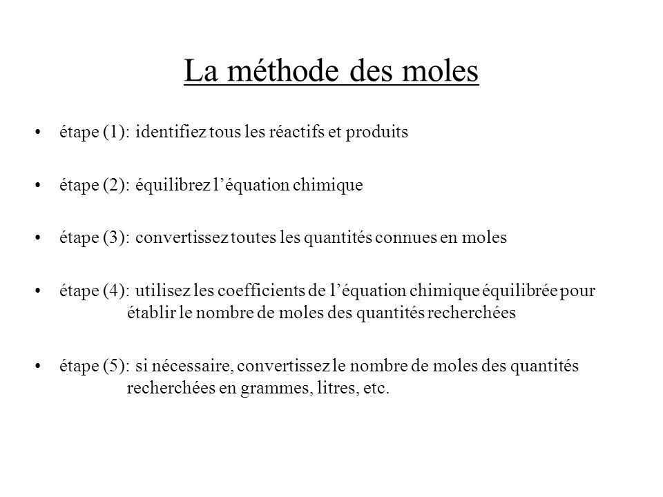 La méthode des moles étape (1):identifiez tous les réactifs et produits étape (2):équilibrez léquation chimique étape (3):convertissez toutes les quan