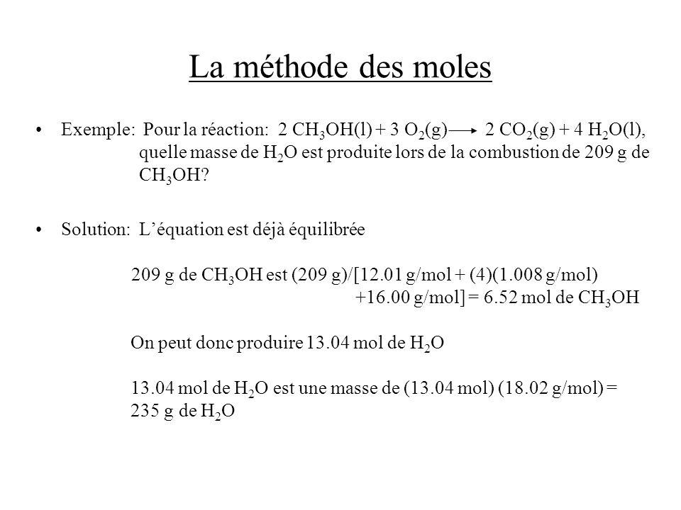 La méthode des moles Exemple: Pour la réaction:2 CH 3 OH(l) + 3 O 2 (g) 2 CO 2 (g) + 4 H 2 O(l), quelle masse de H 2 O est produite lors de la combust
