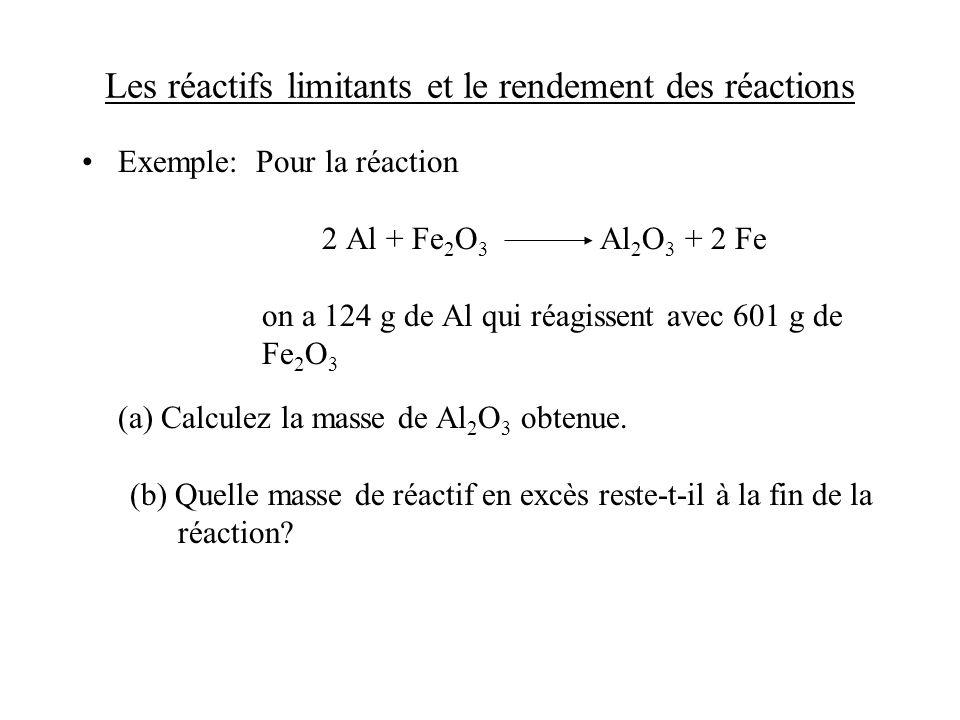 Les réactifs limitants et le rendement des réactions Exemple: Pour la réaction 2 Al + Fe 2 O 3 Al 2 O 3 + 2 Fe on a 124 g de Al qui réagissent avec 60