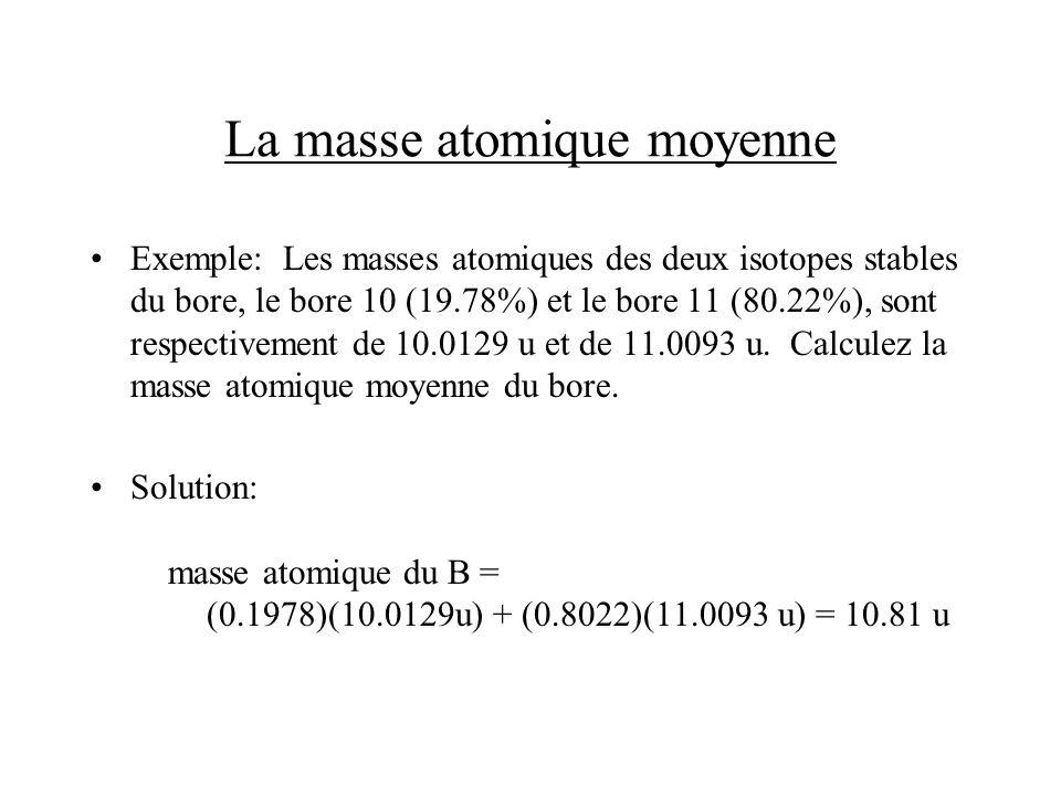 La masse atomique moyenne Exemple: Les masses atomiques des deux isotopes stables du bore, le bore 10 (19.78%) et le bore 11 (80.22%), sont respective