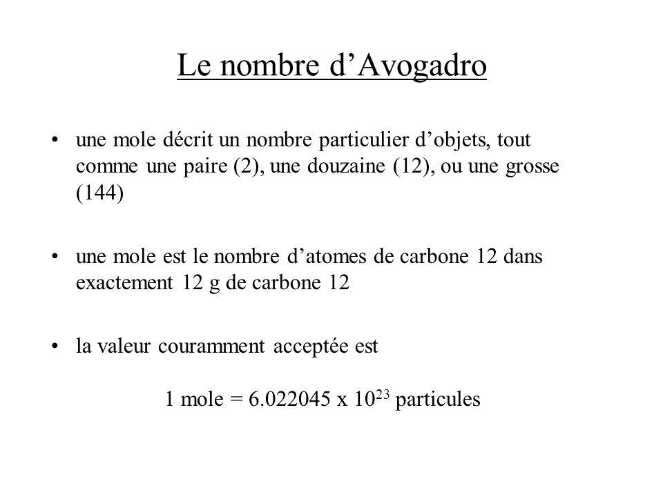 Léquilibration des équations chimiques ex.; C 2 H 6 + O 2 CO 2 + H 2 O –aucun élément nest équilibré –on équilibre le C C 2 H 6 + O 2 2 CO 2 + H 2 O –on équilibre lH C 2 H 6 + O 2 2 CO 2 + 3 H 2 O –on équilibre lO C 2 H 6 + (7/2) O 2 2 CO 2 + 3 H 2 O –léquation est équilibrée –on double les coefficients pour avoir des nombres entiers 2 C 2 H 6 + 7 O 2 4 CO 2 + 6 H 2 O