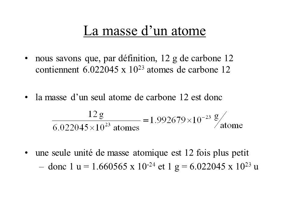 Les réactifs limitants et le rendement des réactions Solution: –on a (124 g)/(26.98 g/mol) = 4.60 mol dAl –on a (601 g)/[(2)(55.85 g/mol) + (3)(16.00 g/mol)] = 3.76 mol Fe 2 O 3 –deux moles dAl sont stoechiométriquement équivalentes à une mole de Fe 2 O 3 –3.76 mol de Fe 2 O 3 vont donc réagir avec 7.52 mol dAl –lAl est le réactif limitant –on produira (1/2)(4.60 mol) = 2.30 mol de Al 2 O 3 –on produira (2.30 mol)[(2)(26.98 g/mol) + (3)(16.00 g/mol)] = 235 g de Al 2 O 3 –il restera (3.76 mol)-(4.60 mol)(1/2) = 1.46 mol de Fe 2 O 3 –il restera (1.46 mol )/[(2)(55.85 g/mol) + (3)(16.00 g/mol)] = 233 g de Fe 2 O 3