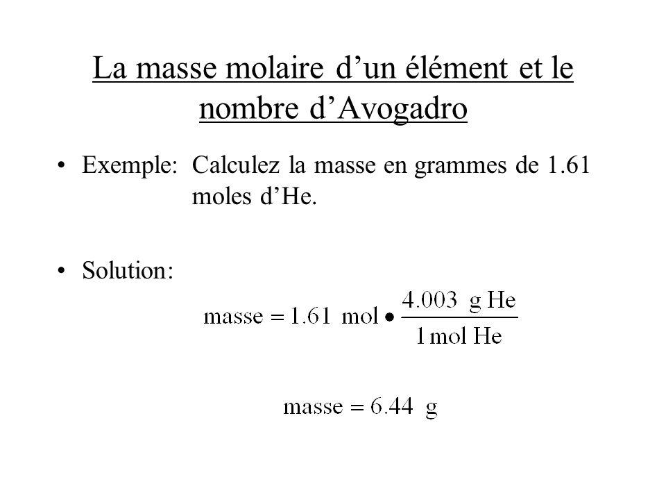 La masse molaire dun élément et le nombre dAvogadro Exemple:Calculez la masse en grammes de 1.61 moles dHe. Solution: