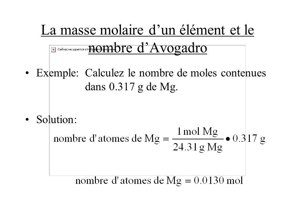La masse molaire dun élément et le nombre dAvogadro Exemple:Calculez le nombre de moles contenues dans 0.317 g de Mg. Solution: