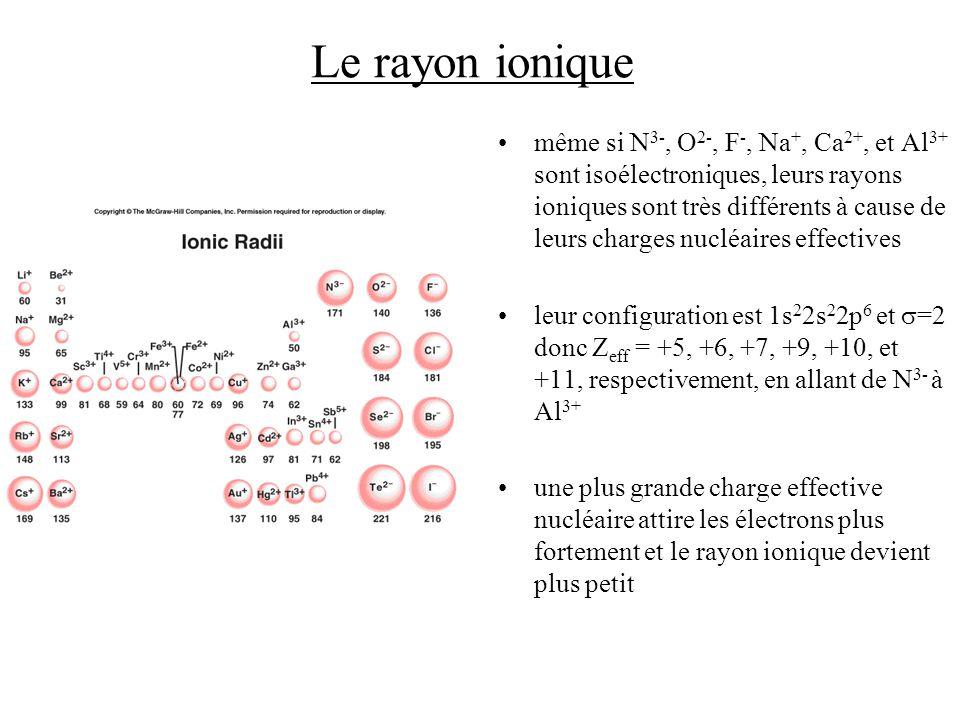 Le rayon ionique même si N 3-, O 2-, F -, Na +, Ca 2+, et Al 3+ sont isoélectroniques, leurs rayons ioniques sont très différents à cause de leurs charges nucléaires effectives leur configuration est 1s 2 2s 2 2p 6 et =2 donc Z eff = +5, +6, +7, +9, +10, et +11, respectivement, en allant de N 3- à Al 3+ une plus grande charge effective nucléaire attire les électrons plus fortement et le rayon ionique devient plus petit
