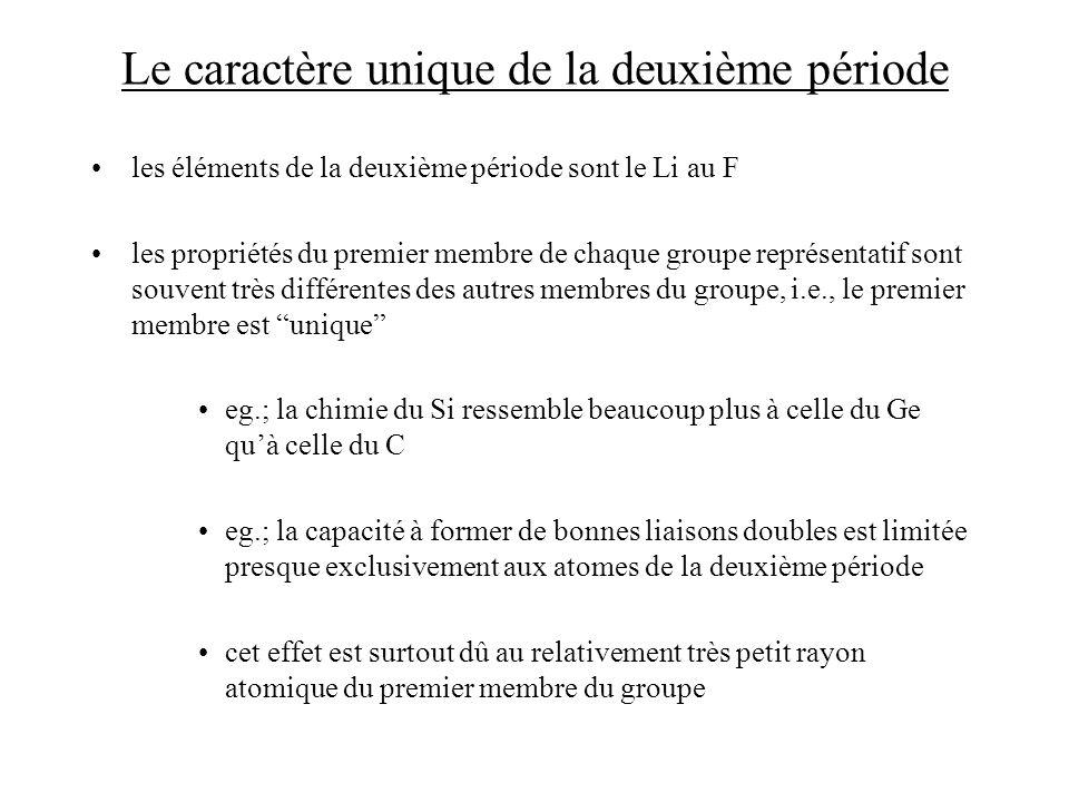 Le caractère unique de la deuxième période les éléments de la deuxième période sont le Li au F les propriétés du premier membre de chaque groupe repré