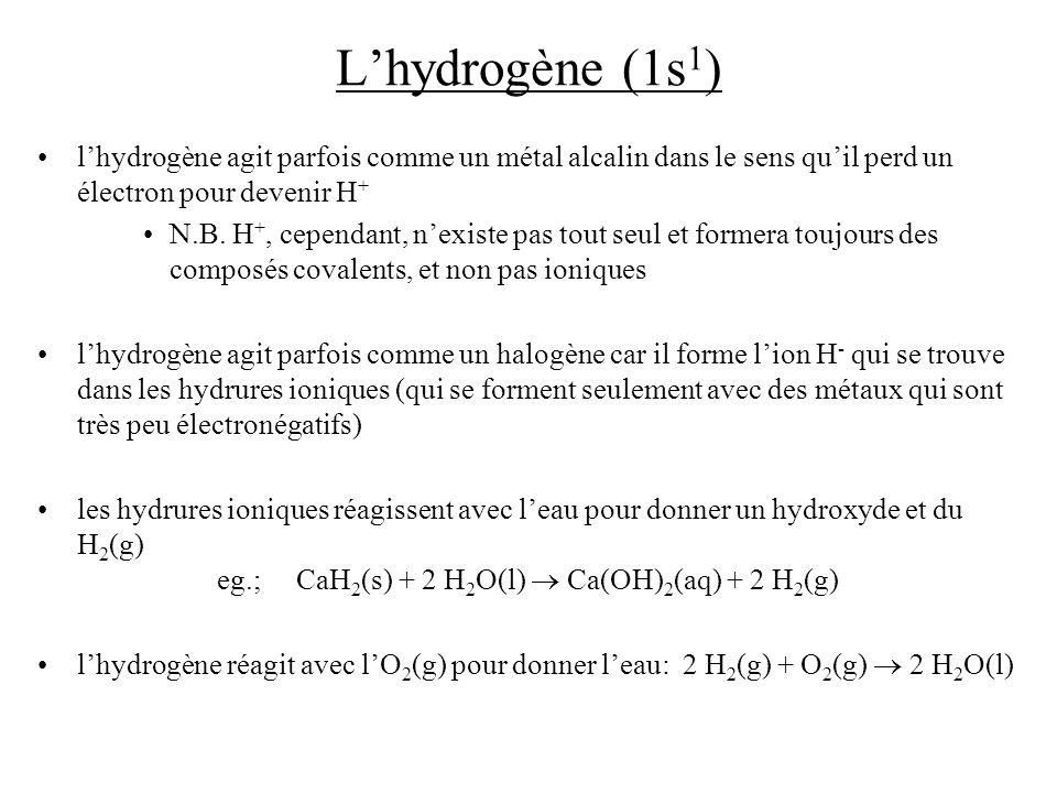 Lhydrogène (1s 1 ) lhydrogène agit parfois comme un métal alcalin dans le sens quil perd un électron pour devenir H + N.B. H +, cependant, nexiste pas