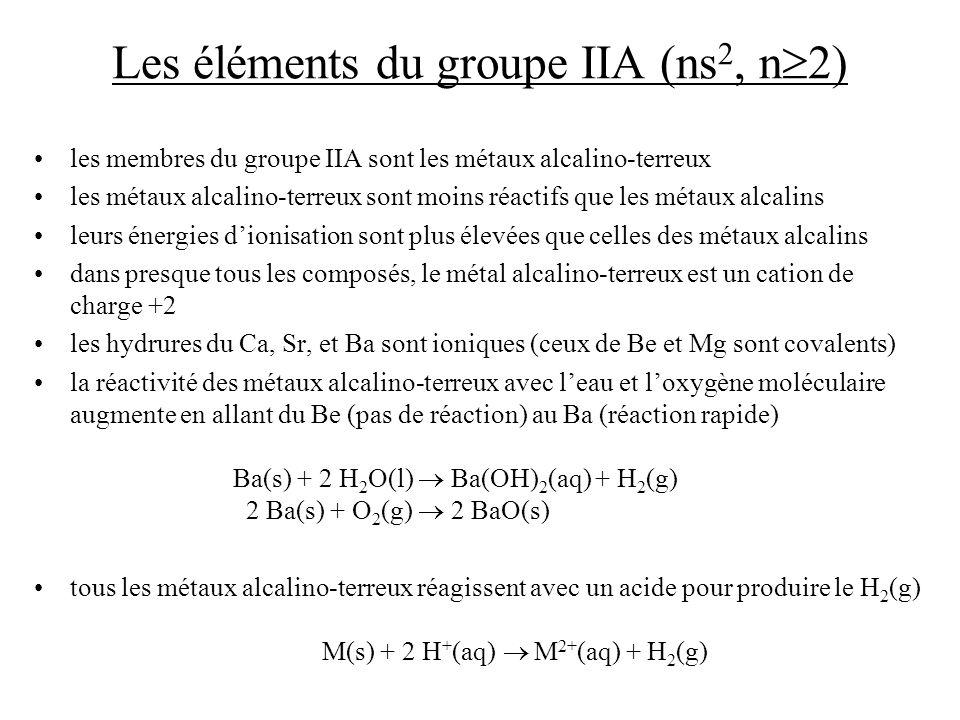 Les éléments du groupe IIA (ns 2, n 2) les membres du groupe IIA sont les métaux alcalino-terreux les métaux alcalino-terreux sont moins réactifs que
