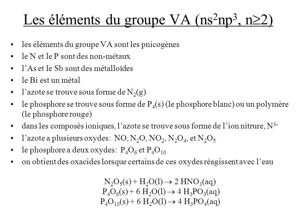 Les éléments du groupe VA (ns 2 np 3, n 2) les éléments du groupe VA sont les pnicogènes le N et le P sont des non-métaux lAs et le Sb sont des métall
