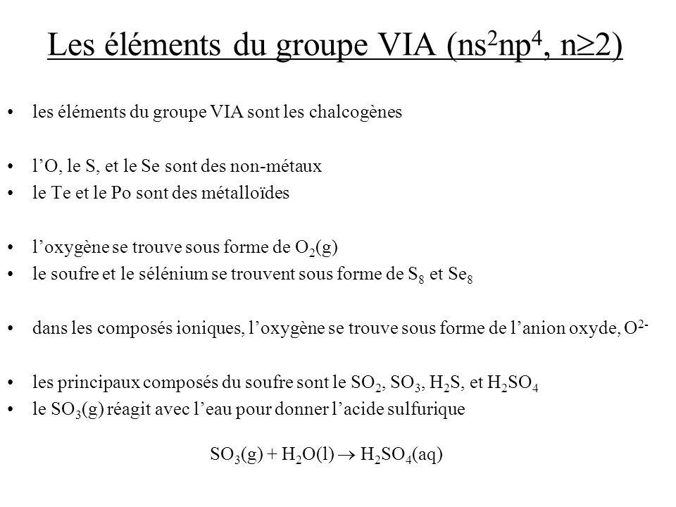 Les éléments du groupe VIA (ns 2 np 4, n 2) les éléments du groupe VIA sont les chalcogènes lO, le S, et le Se sont des non-métaux le Te et le Po sont des métalloïdes loxygène se trouve sous forme de O 2 (g) le soufre et le sélénium se trouvent sous forme de S 8 et Se 8 dans les composés ioniques, loxygène se trouve sous forme de lanion oxyde, O 2- les principaux composés du soufre sont le SO 2, SO 3, H 2 S, et H 2 SO 4 le SO 3 (g) réagit avec leau pour donner lacide sulfurique SO 3 (g) + H 2 O(l) H 2 SO 4 (aq)
