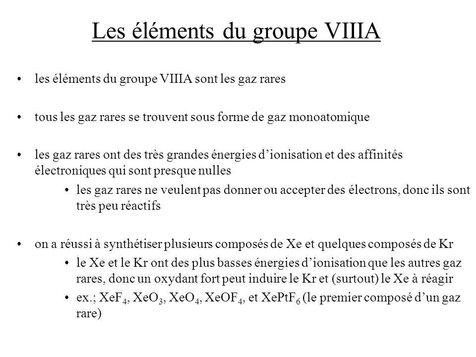 Les éléments du groupe VIIIA les éléments du groupe VIIIA sont les gaz rares tous les gaz rares se trouvent sous forme de gaz monoatomique les gaz rares ont des très grandes énergies dionisation et des affinités électroniques qui sont presque nulles les gaz rares ne veulent pas donner ou accepter des électrons, donc ils sont très peu réactifs on a réussi à synthétiser plusieurs composés de Xe et quelques composés de Kr le Xe et le Kr ont des plus basses énergies dionisation que les autres gaz rares, donc un oxydant fort peut induire le Kr et (surtout) le Xe à réagir ex.; XeF 4, XeO 3, XeO 4, XeOF 4, et XePtF 6 (le premier composé dun gaz rare)