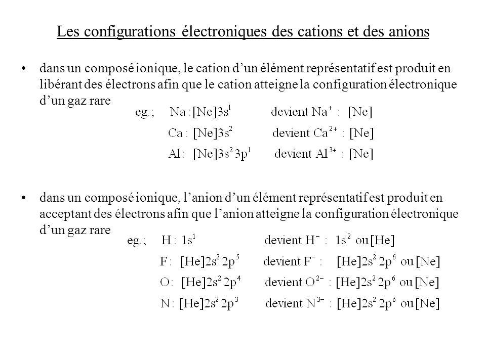 Les configurations électroniques des cations et des anions dans un composé ionique, le cation dun élément représentatif est produit en libérant des électrons afin que le cation atteigne la configuration électronique dun gaz rare dans un composé ionique, lanion dun élément représentatif est produit en acceptant des électrons afin que lanion atteigne la configuration électronique dun gaz rare
