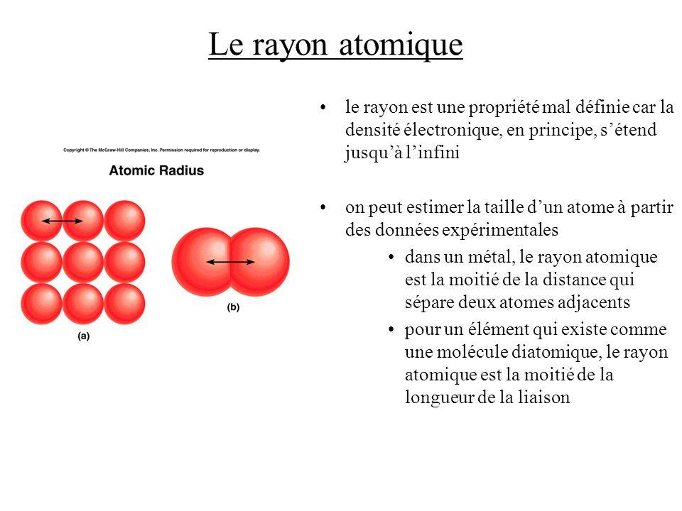 Le rayon atomique le rayon est une propriété mal définie car la densité électronique, en principe, sétend jusquà linfini on peut estimer la taille dun atome à partir des données expérimentales dans un métal, le rayon atomique est la moitié de la distance qui sépare deux atomes adjacents pour un élément qui existe comme une molécule diatomique, le rayon atomique est la moitié de la longueur de la liaison