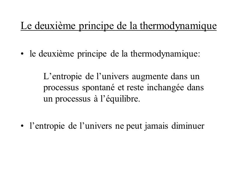 Le deuxième principe de la thermodynamique le deuxième principe de la thermodynamique: Lentropie de lunivers augmente dans un processus spontané et re