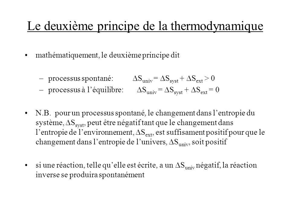 Le deuxième principe de la thermodynamique mathématiquement, le deuxième principe dit –processus spontané: S univ = S syst + S ext > 0 –processus à lé