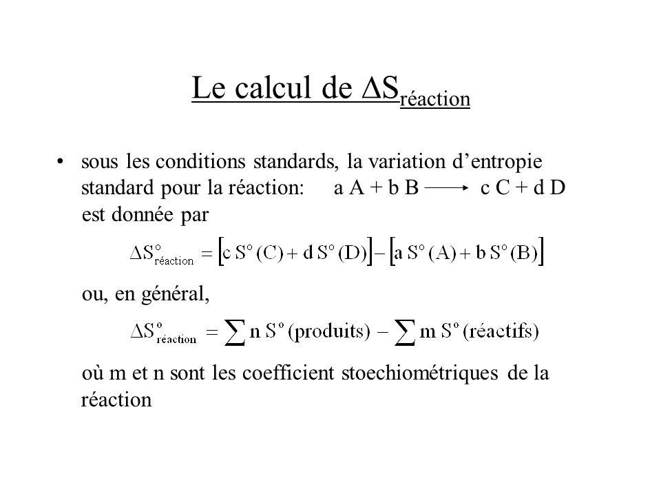 Le calcul de S réaction sous les conditions standards, la variation dentropie standard pour la réaction: a A + b B c C + d D est donnée par ou, en gén