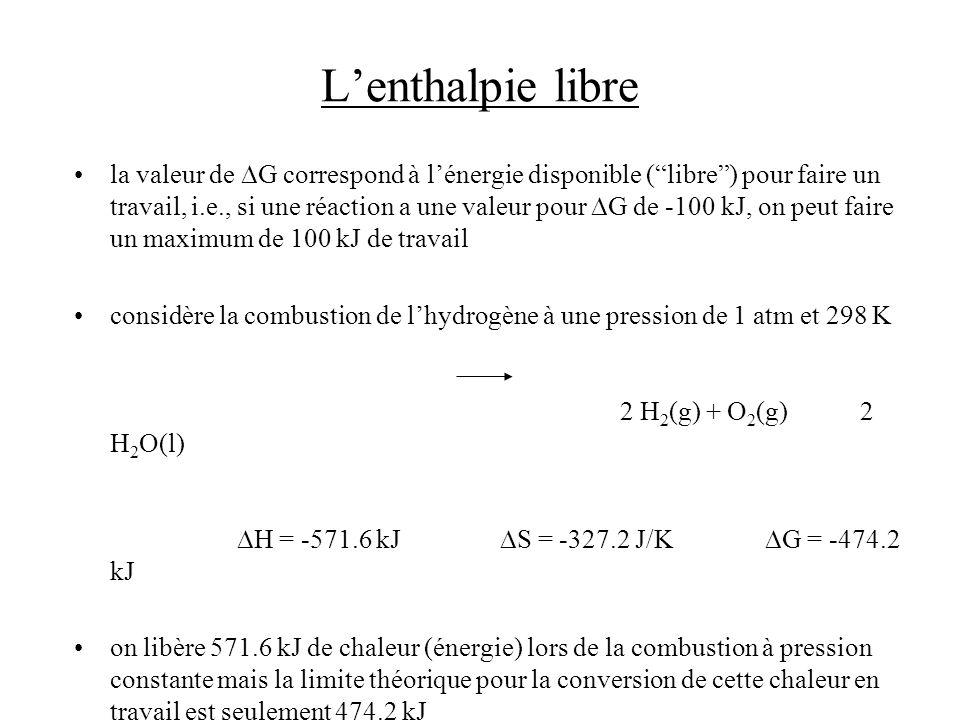 Lenthalpie libre la valeur de G correspond à lénergie disponible (libre) pour faire un travail, i.e., si une réaction a une valeur pour G de -100 kJ,