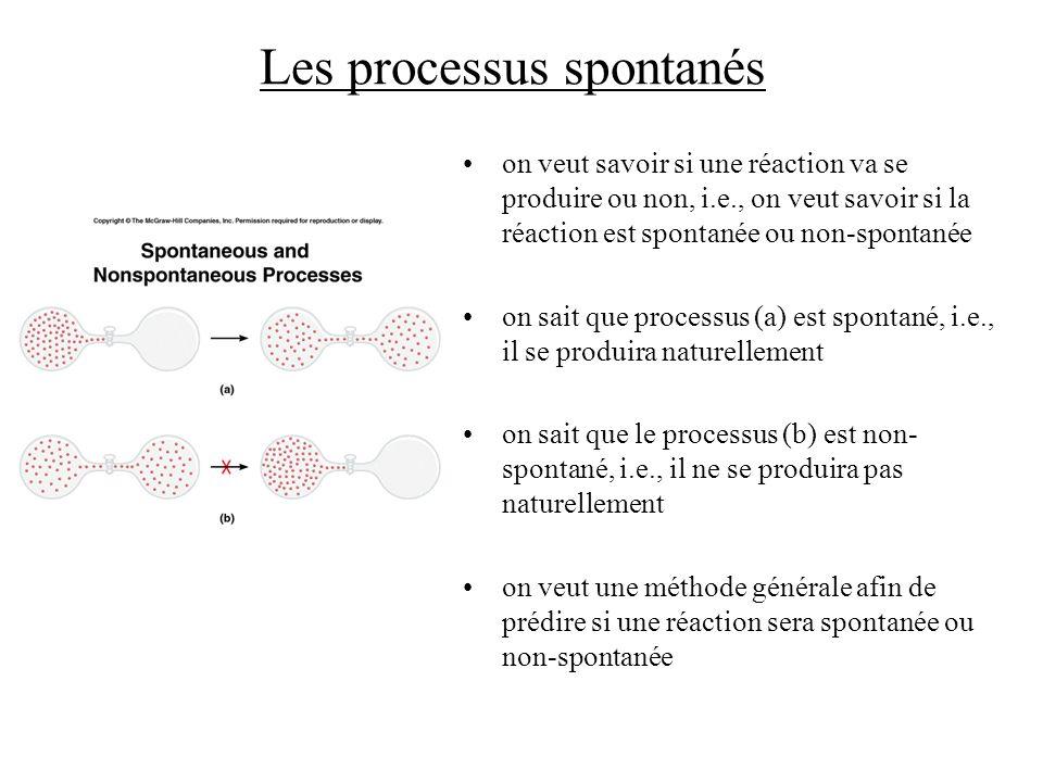 Les processus spontanés on veut savoir si une réaction va se produire ou non, i.e., on veut savoir si la réaction est spontanée ou non-spontanée on sa