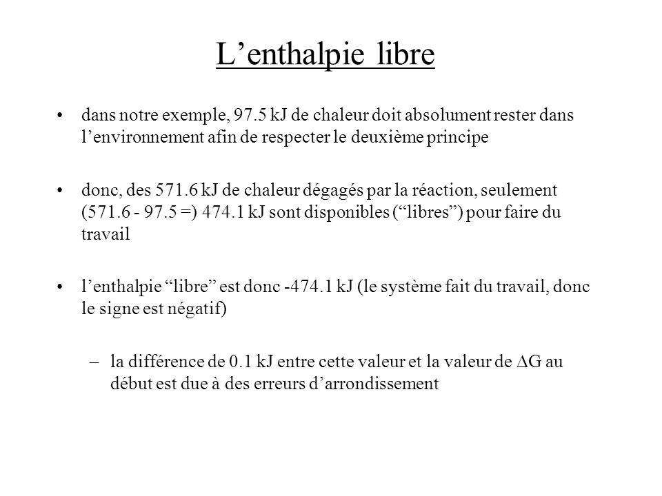Lenthalpie libre dans notre exemple, 97.5 kJ de chaleur doit absolument rester dans lenvironnement afin de respecter le deuxième principe donc, des 57
