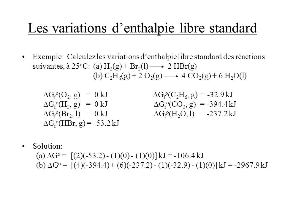 Les variations denthalpie libre standard Exemple: Calculez les variations denthalpie libre standard des réactions suivantes, à 25 o C: (a) H 2 (g) + B