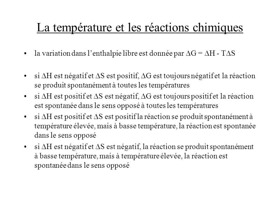 La température et les réactions chimiques la variation dans lenthalpie libre est donnée par G = H - T S si H est négatif et S est positif, G est toujo