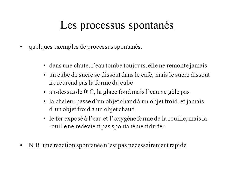 Les processus spontanés quelques exemples de processus spontanés: dans une chute, leau tombe toujours, elle ne remonte jamais un cube de sucre se diss