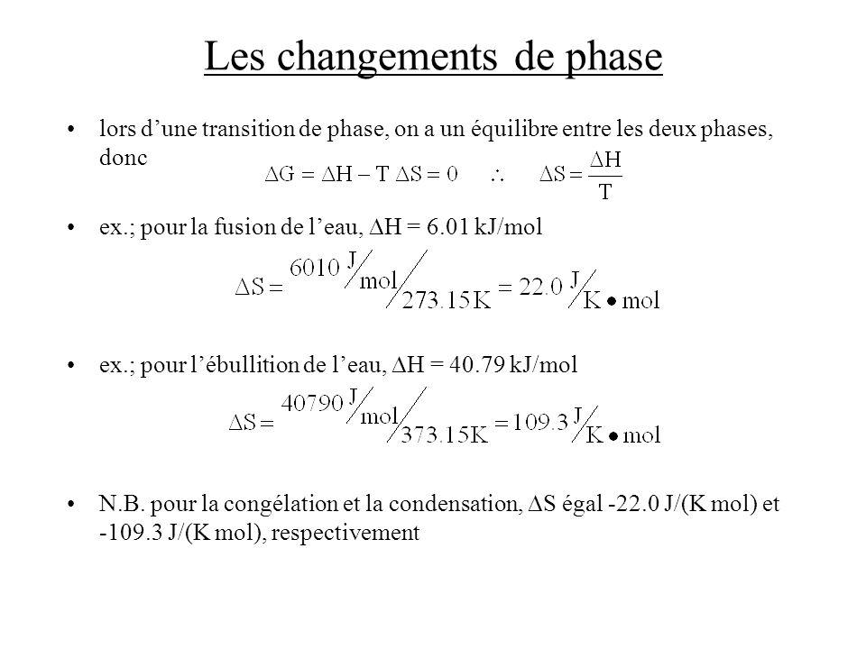 Les changements de phase lors dune transition de phase, on a un équilibre entre les deux phases, donc ex.; pour la fusion de leau, H = 6.01 kJ/mol ex.