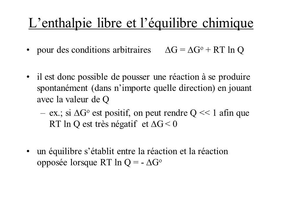 Lenthalpie libre et léquilibre chimique pour des conditions arbitraires G = G o + RT ln Q il est donc possible de pousser une réaction à se produire s