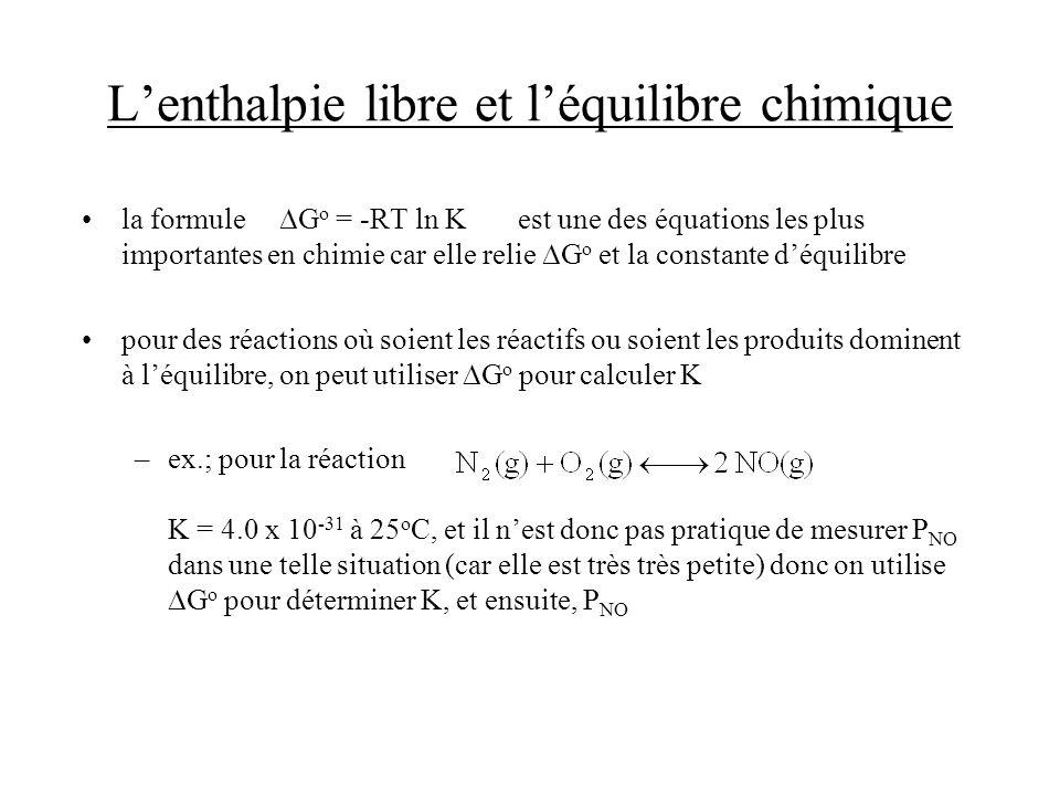 Lenthalpie libre et léquilibre chimique la formule G o = -RT ln K est une des équations les plus importantes en chimie car elle relie G o et la consta