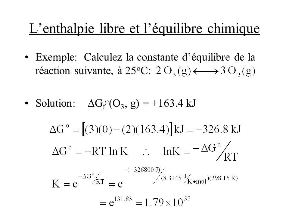 Lenthalpie libre et léquilibre chimique Exemple: Calculez la constante déquilibre de la réaction suivante, à 25 o C: Solution: G f o (O 3, g) = +163.4