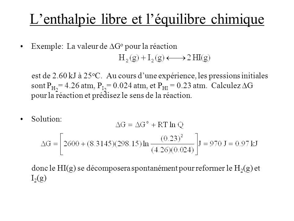 Lenthalpie libre et léquilibre chimique Exemple: La valeur de G o pour la réaction est de 2.60 kJ à 25 o C. Au cours dune expérience, les pressions in