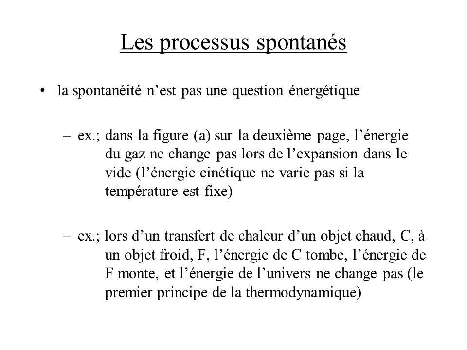 Les processus spontanés la spontanéité nest pas une question énergétique –ex.;dans la figure (a) sur la deuxième page, lénergie du gaz ne change pas l