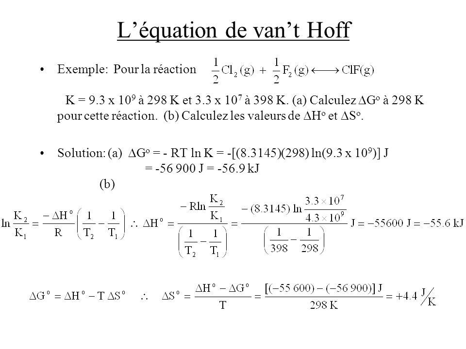 Léquation de vant Hoff Exemple: Pour la réaction K = 9.3 x 10 9 à 298 K et 3.3 x 10 7 à 398 K. (a) Calculez G o à 298 K pour cette réaction. (b) Calcu