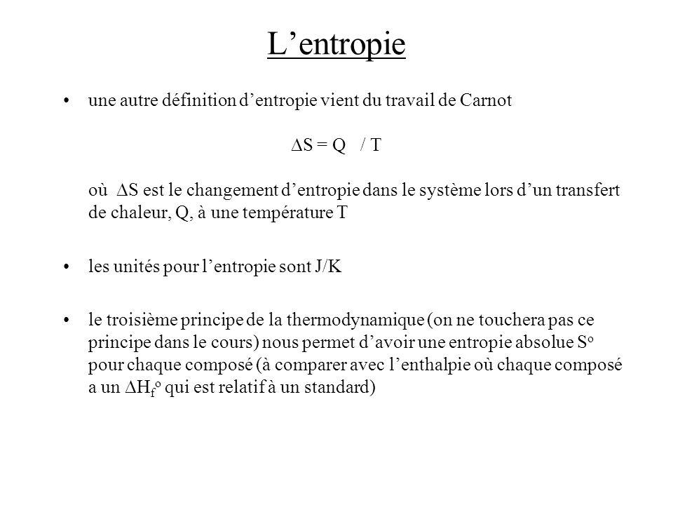 Lentropie une autre définition dentropie vient du travail de Carnot S = Q / T où S est le changement dentropie dans le système lors dun transfert de c