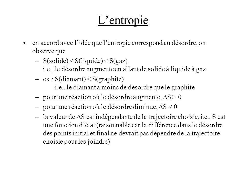 Lentropie en accord avec lidée que lentropie correspond au désordre, on observe que –S(solide) < S(liquide) < S(gaz) i.e., le désordre augmente en all